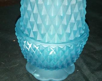 Fenton Hobknob Fairy Candle Holder Blue