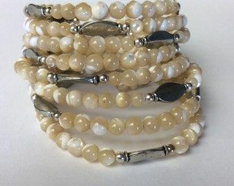 Cream Beige Silver Memory Wrap Bracelet, Off White Wrap Bracelet, Gemstone Wrap bracelet,  Beige Wrap Bracelet, beaded wrap bracelets,