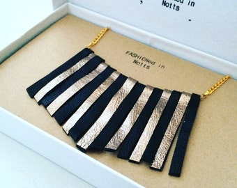 Real leather fringe statement necklace