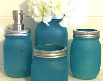 4 Piece Turquoise Sea Glass Bathroom Bath Set