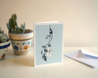 Light Bulb Vase - A6 Botanical Illustration Greeting Card