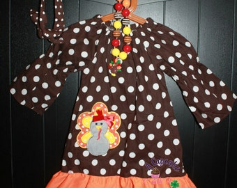 Price Reduced! Thanksgiving Turkey Polka Dot Dress with Matching Hair tie & Necklace *1 left*
