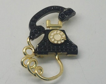 Vintage Danecraft Black Phone Brooch