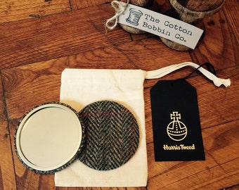 Harris Tweed Green red beige Herringbone Pocket Mirror Large 77mm  & Authenticity Tags and Cotton Bag Stocking filler Tweed Gifts for Her
