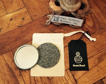 Harris Tweed Grey Pocket Mirror Large 77mm & Authenticity Tags and Cotton Bag Stocking filler Luxury Tweed Gifts for Her Gifts for Mum