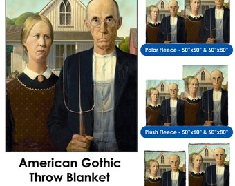 American Gothic by Grant Wood - Throw Blanket