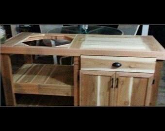 Custom cedar green egg table.