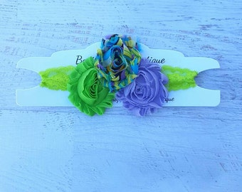 Lime green and lavender flower headband