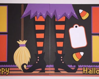 """2 - Premade 12x12 """"Halloween"""" Scrapbook Page Layouts, Witch"""