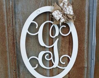 Door Hanger - Painted Monogram Wreath - Wall Hanging - Wooden Initial