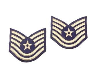 US Air Force Patches, Vintage 1970s Military Memorabilia, Vintage Technical Sergeant E-6