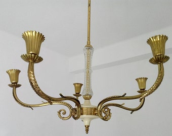 Liberty brass etched glass chandelier 1940s 5 bulbs Stilnovo era Made in Italy