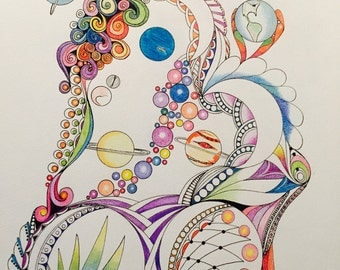 Zentangle space,zentangle planets,zentangle art, colored Zentangle,space art,ink colored pencils,wall art wall decor