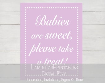 Baby shower dessert table lavender, babies are sweet, dessert table sign, candy buffet sign, dessert sign, sweet treats, download BS05