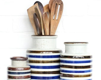 Mid Century Stoneware Crock Set of 3 / Striped Blue and Brown Speckled / Kitchen Decor / MCM /  Stoneware Crocks