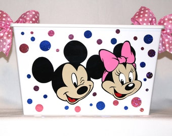 mickey mouse easter basket mickey and minnie mouse bin waste basket storage bin toy box polka dots and bows made with vinyl