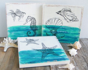 Sea life picture set, Set of 3 wood signs, Rustic wall decor, Nautical art, Rustic decor