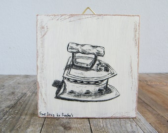Miniature picture, Antique iron print, Rustic wood signs, Kitchen decor, Hipster wall decor, Retro decor