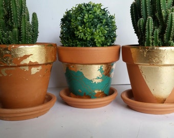 Geometric Planter Gold and Teal 4 Inches