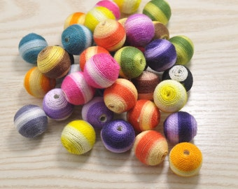 round crochet fiber beads cotton string beads 20mm,12pcs colorful stripe textile ball necklace links,crochet beads for handmade,beads craft