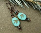 Turquoise Bird Earrings, Picasso Czech Glass Swallows, Rustic, Bohemian, Nature Jewelry, Boho Chic, Spring Fashion, Copper Niobium, Gift