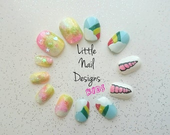 Kids Unicorn iridescent rainbow and clouds false nails