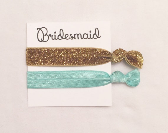 Bridesmaid hair tie favors//thick glitter gold aqua//hair tie card//bachelorette favor//gift