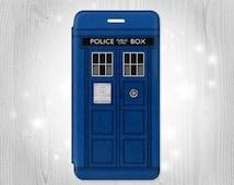 Doctor Who Tardis Inspired iPhone 6S 6 Plus 6+ SE 5 5S 5C 4 Samsung Galaxy S7 Edge S6 Edge Plus S5 Note 5 4 Leather Flip Case