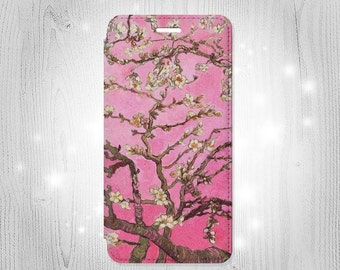 Pink Blossoming Almond Tree Van Gogh Leather Flip Case For iPhone 7 7 Plus 6S 6 6+ SE 5 Samsung Galaxy S7 Edge S6 Edge Plus S5 Note 5 4