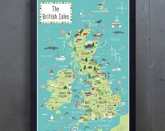 Illustrated Map of the British Isles - Children's UK map - A2 - Colourful Art Print - Hand-drawn - Poster - Perfect Gift - Ready to Frame