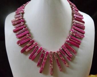 Amanda sea sediment-Japis necklace pink/beige mamoriert
