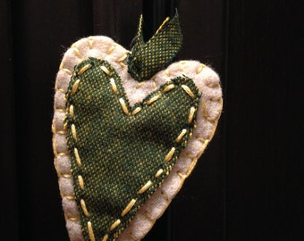 Rustic Felt Heart - handmade