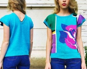 MOVING SALE Vintage 80s Sophisticates Bright Blue + Multicolor Color Blocking Rose Knit Short Sleeve Sweater Top S/M