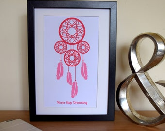 """Pink Dreamcatcher Print. """"Never stop dreaming"""". Typography Poster. Wall Decor"""