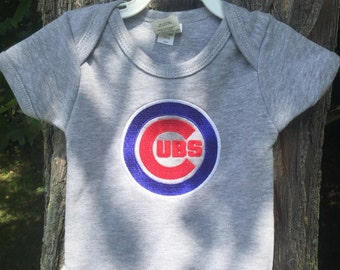 Cubs inspired onesie, Chicago Cubs, Cubs baseball
