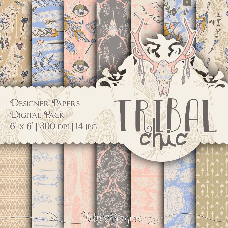 Tribal Paper Pack Boho Chic Digital Paper Hippie Patterns