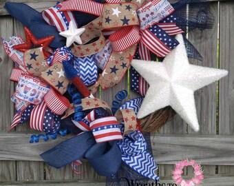 REDUCED!!! -Deco Mesh Patriotic Wreath -4th of July Wreath -Patriotic Decor -Red White Blue -