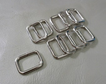 10 Pieces, 2 cm. (20 mm.) (inner) Nickel Rectangle Rings, Purse Making Accessories