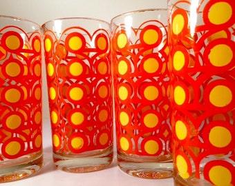 Colony Groovy Retro Orange & Yellow Circle Glasses (Set of 4)