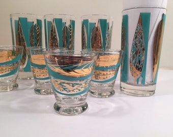 Fred Press Signed Mid-Century 22-Karat Gold & Blue Leaf Tall and Whiskey Glasses (Set of 4 tall glasses - 4 whiskey glasses)