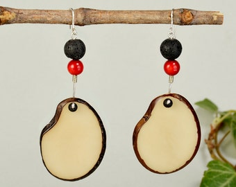 White tagua earrings, chunky natural drops, black lava jewelry, vegetable ivory, long bold slice drops, red coral jewelry, organic earring..