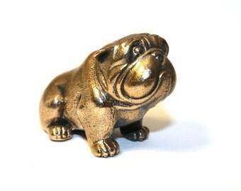 English bulldog dog - a miniature statuette of bronze,  metal figurine