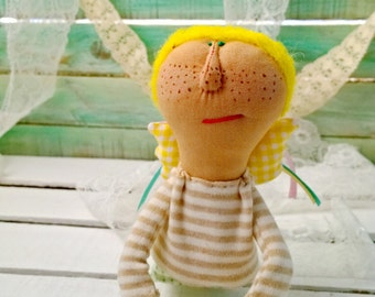 textile angel doll with wings, freckles and yellow hai