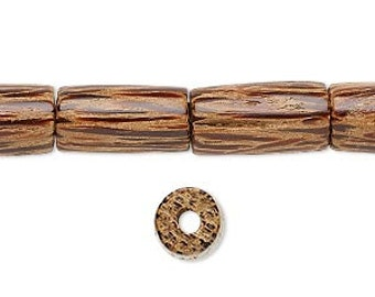 Wood Tube Bead, Natural Wood, Coconut Palm Bead, Brown, 15x8mm, 6 each, D875