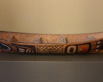 Rare Vintage Large Tlingit or Haida Northwest Coast Native American Carved & Painted Canoe Circa 1900