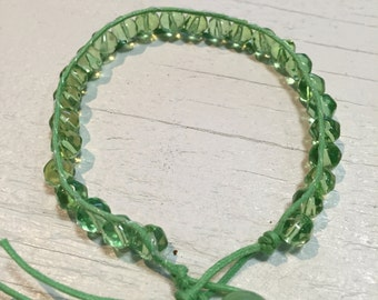 B-317  Green Faceted beated cord bracelet