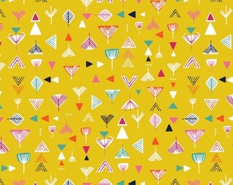 Nature Trail Geo Geometric Mustard Yellow Cotton Fabric from Nature Trail collection by Dashwood Studio per fat quarter per metre