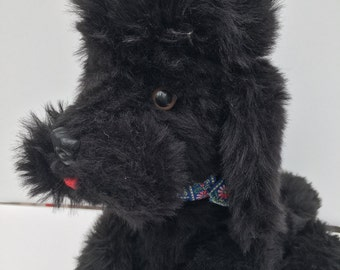 Vintage Poodle 1950s Articulated Poseable Black Stuffed Animal