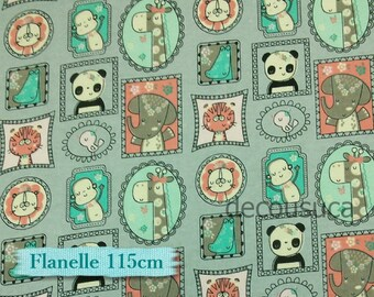 Flannel, Camelot, Baby, animal, jungle, 100% Cotton