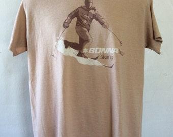 Vtg 70s 80s Bonnafide Skiing T-Shirt Brown L/XL Thin Stedman 50/50 Ski